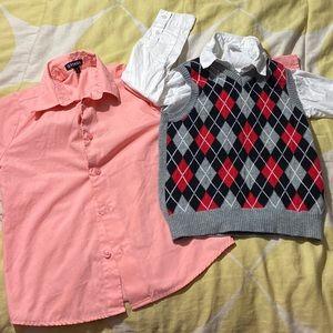 Bundle of 2 boys button up shirt w matching vest